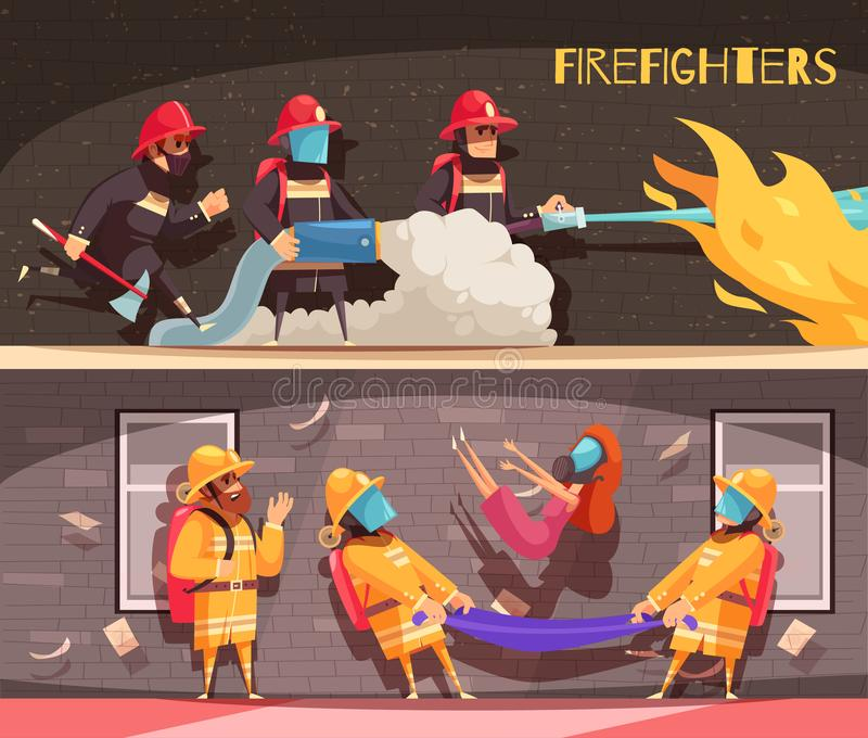 Fire Fighter Banners Set vector illustration