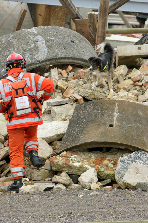 Fire fighter at building collapse. Fire fighter and search and rescue dog at building collapse stock photos
