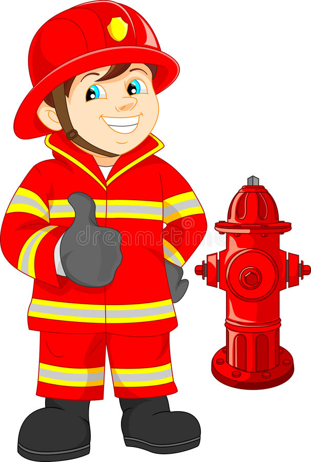 Fire fighter cartoon thumb up vector illustration