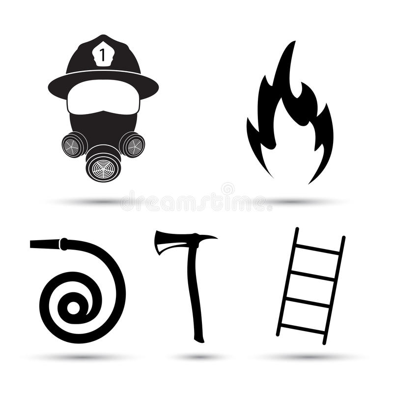 Fire fighter equipment icons vector set on white background stock illustration