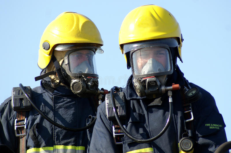 Fire fighter. S in full BA equipment royalty free stock photo