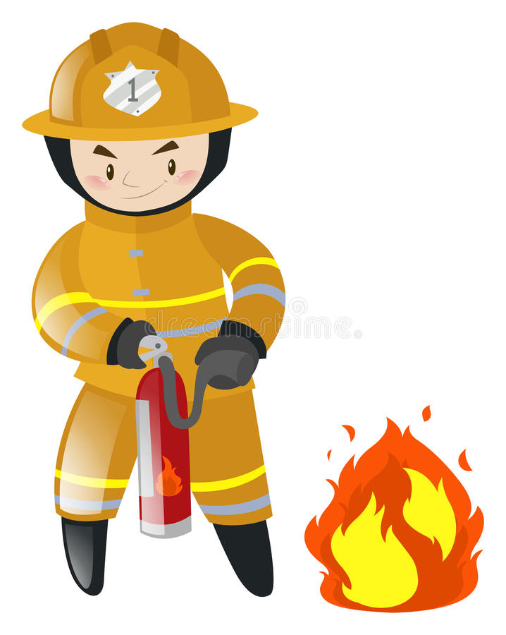 Fire fighter fighting with fire stock illustration
