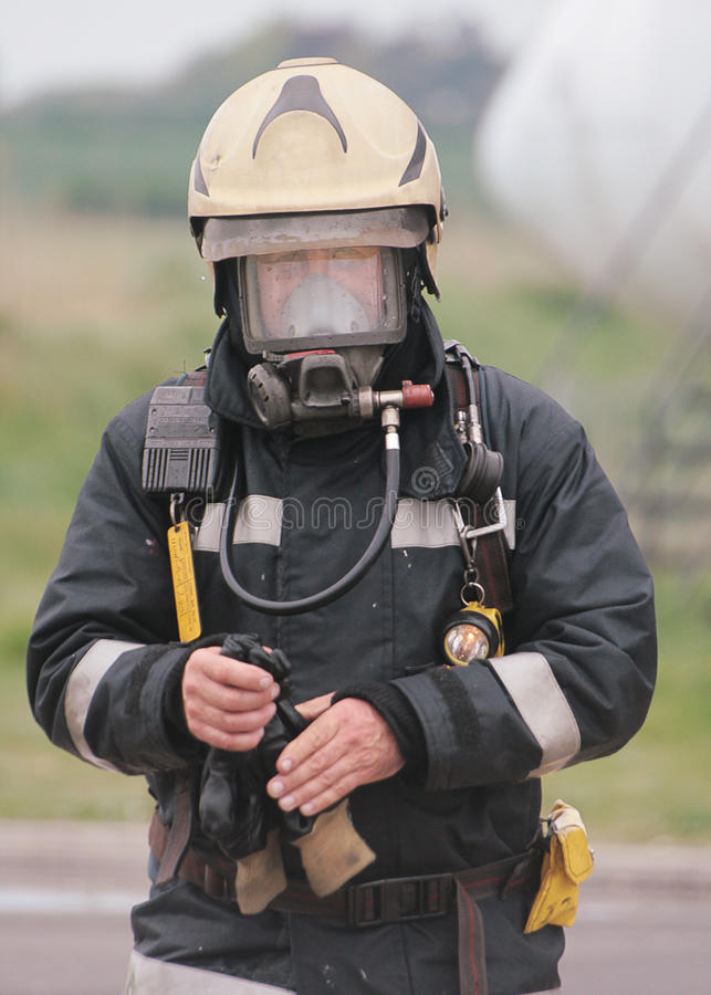 Fire fighter. In full BA royalty free stock photo