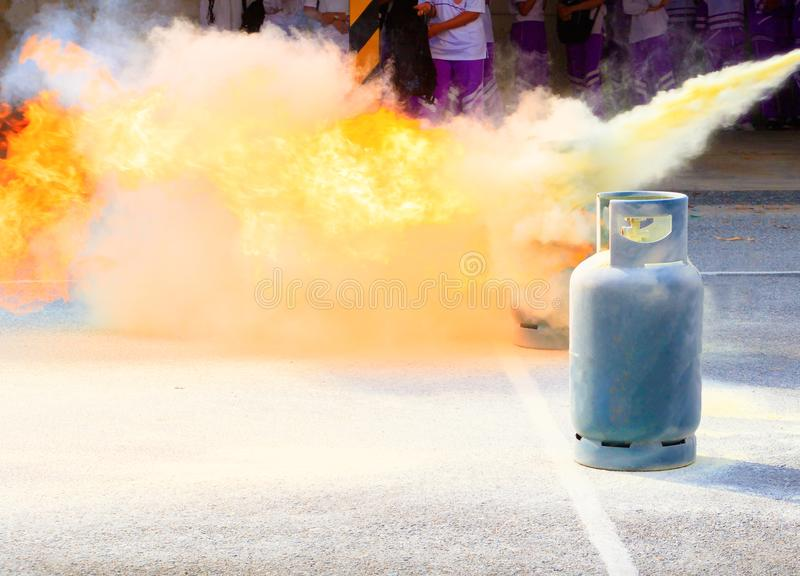 Fire fighter Gas tank during a learning training exercise stock photo