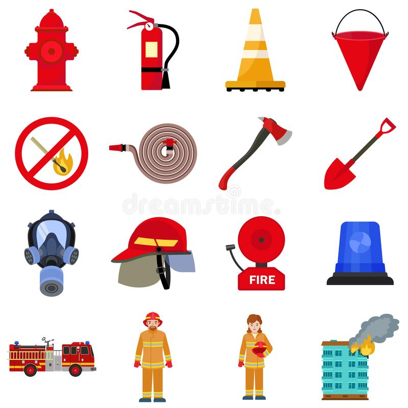 Fire fighter icon set, flat style royalty free illustration