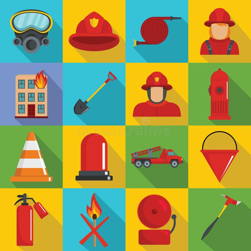Fire fighter icons set, flat style royalty free illustration