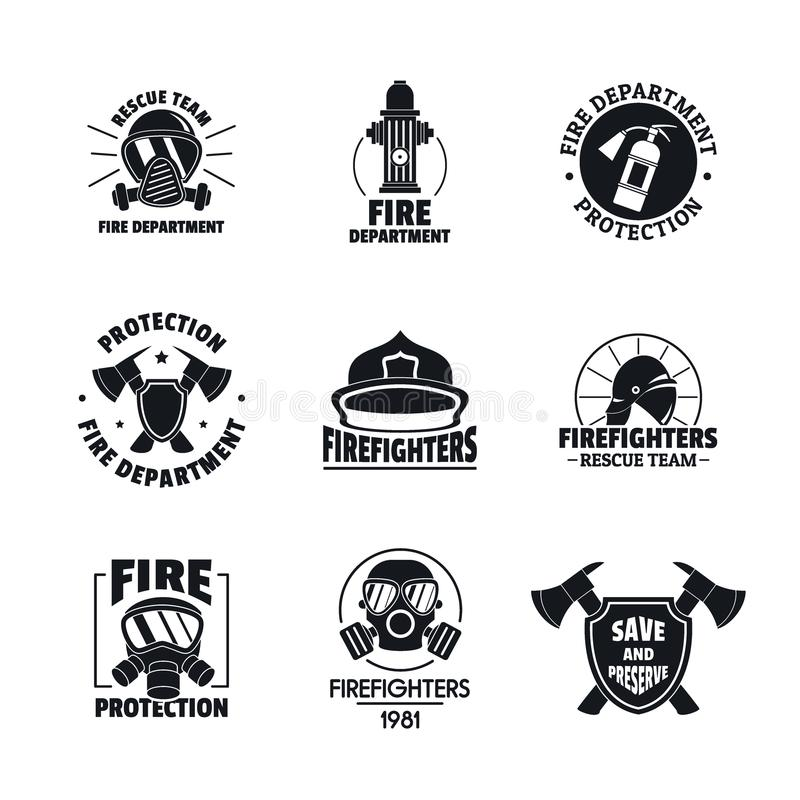 Fire fighter logo icons set, flat style stock illustration
