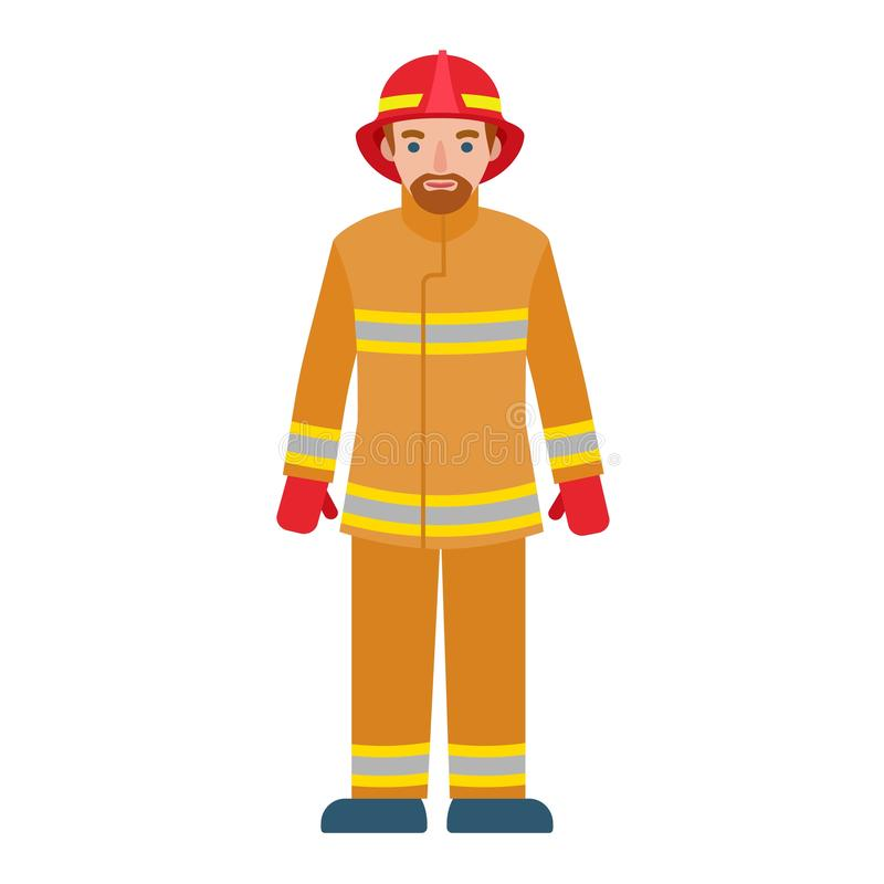 Fire fighter man icon, flat style vector illustration