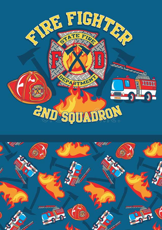 Fire fighter 2nd squadron. royalty free illustration