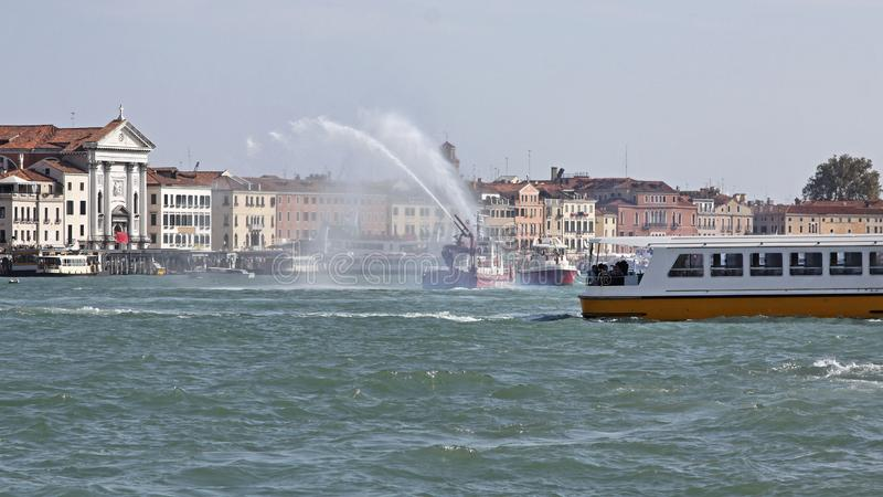Fire Fighters Boat Venice royalty free stock photography