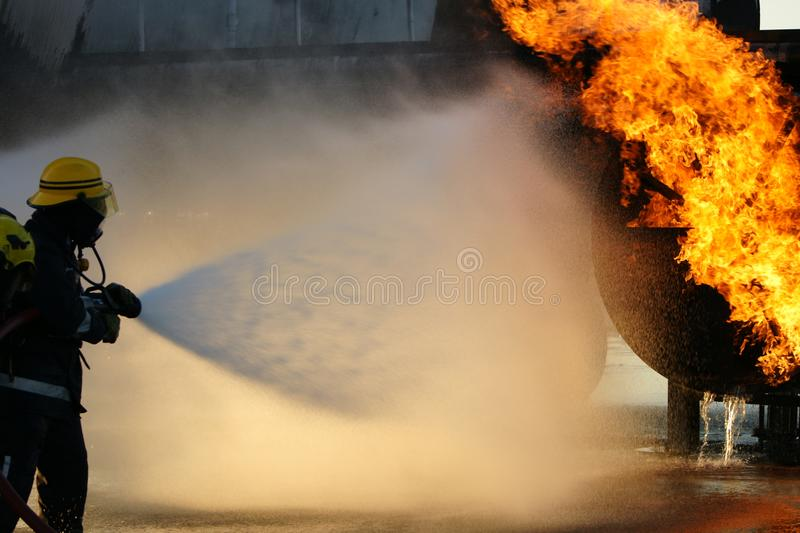 Fire fighters. At emergency incident royalty free stock photo