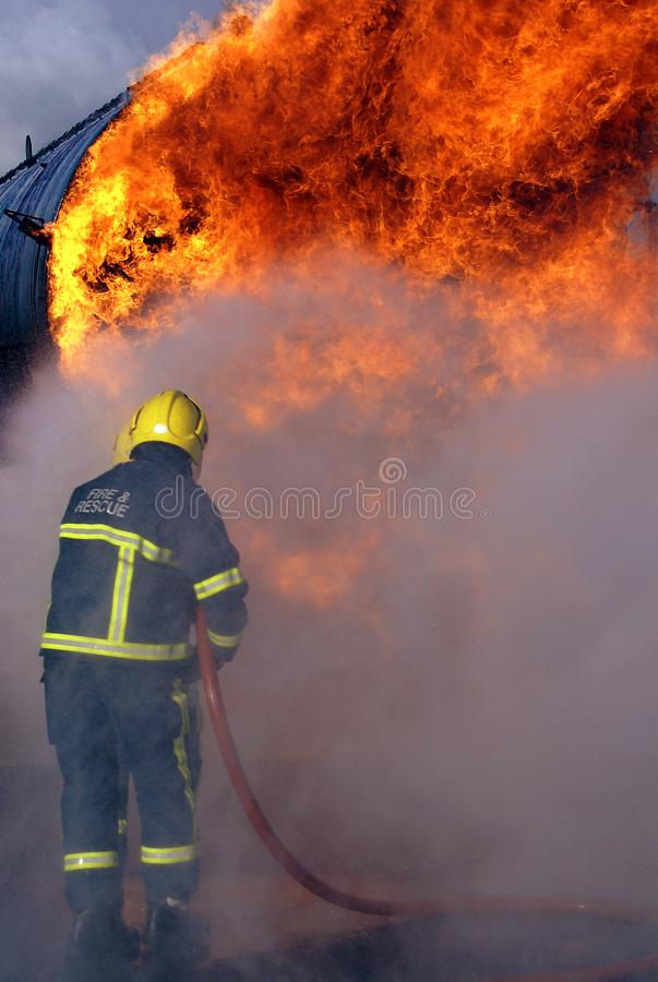 Fire fighters. At emergency incident stock photo