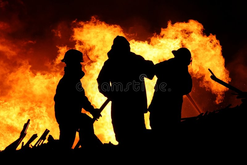 Download Fire Fighters And Huge Flames Stock Photo - Image: 5215544