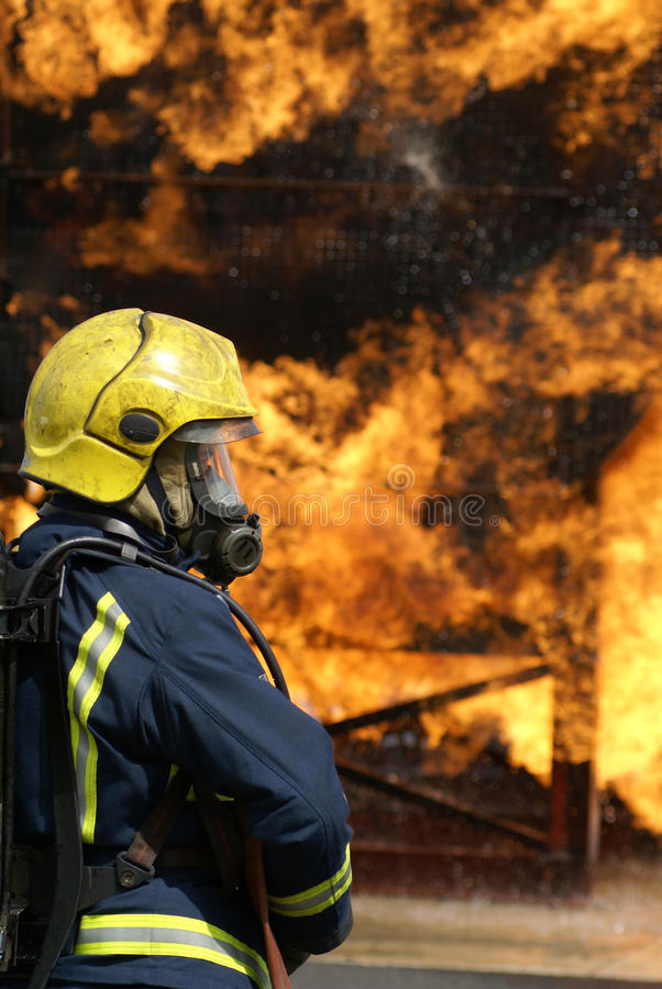 Fire fighters. At large incident stock photos