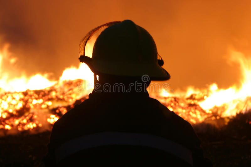 Fire fighters. At large incident royalty free stock image