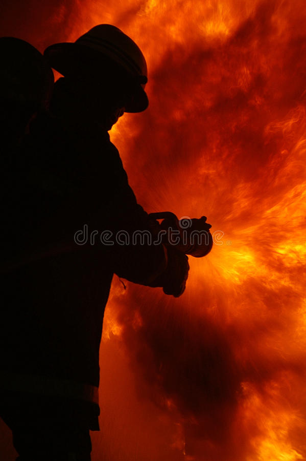 Fire fighter. At large incident royalty free stock image