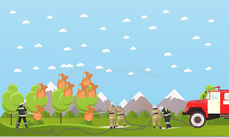 Fire fighting department vector banner. Firefighters extinguish the fire in a forest stock illustration