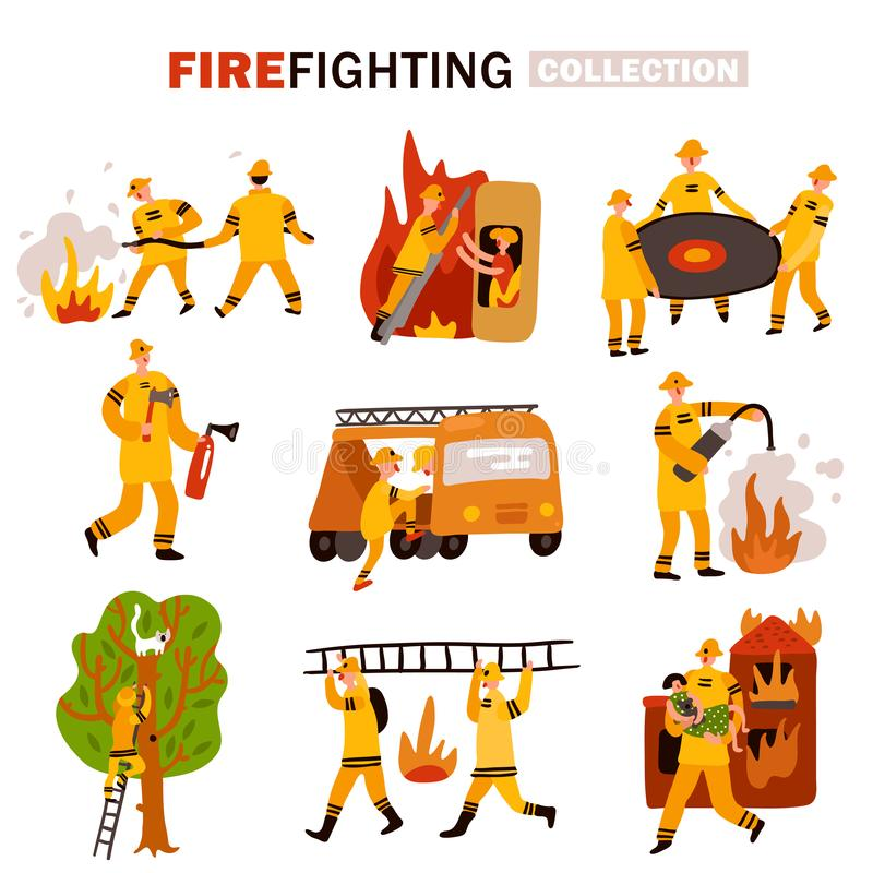 Fire Fighting Flat Icons Set stock illustration
