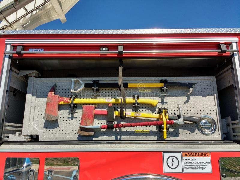 Pike Pole and Ax, Fire Truck Equipment, Firefighting Tools stock images