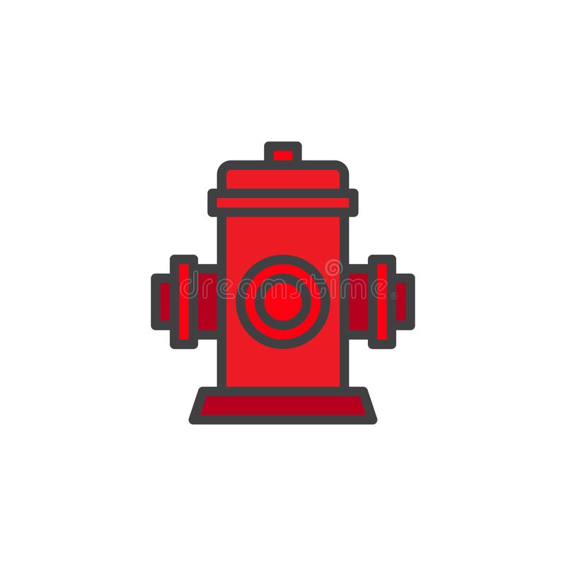 Fire fighting hydrant filled outline icon. Line vector sign, linear colorful pictogram isolated on white. Fire safety symbol, logo illustration. Pixel perfect royalty free illustration