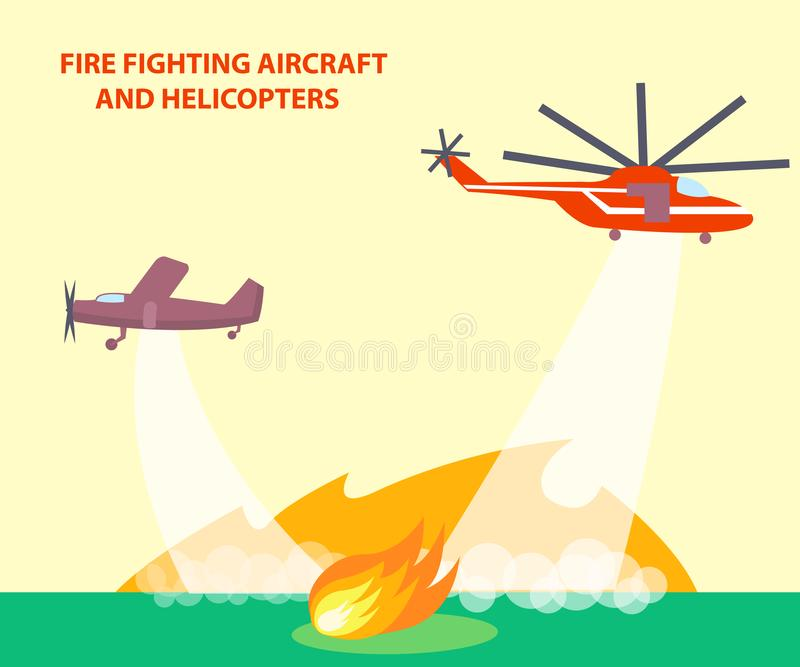 Aircraft and Helicopters Poster with Text stock illustration