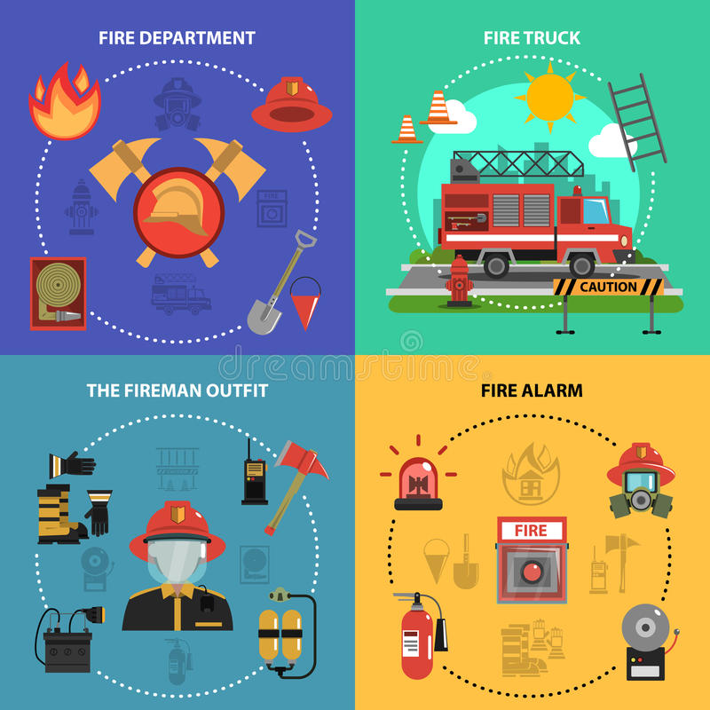 Fire Fighting Set. Fire fighting design concept set with fireman truck outfit alarm flat icons isolated vector illustration stock illustration