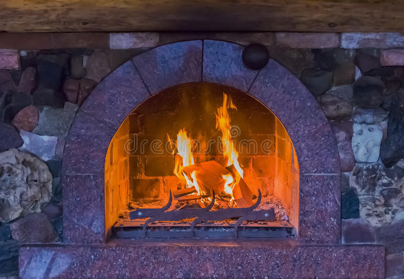 Fire in a fireplace royalty free stock photo