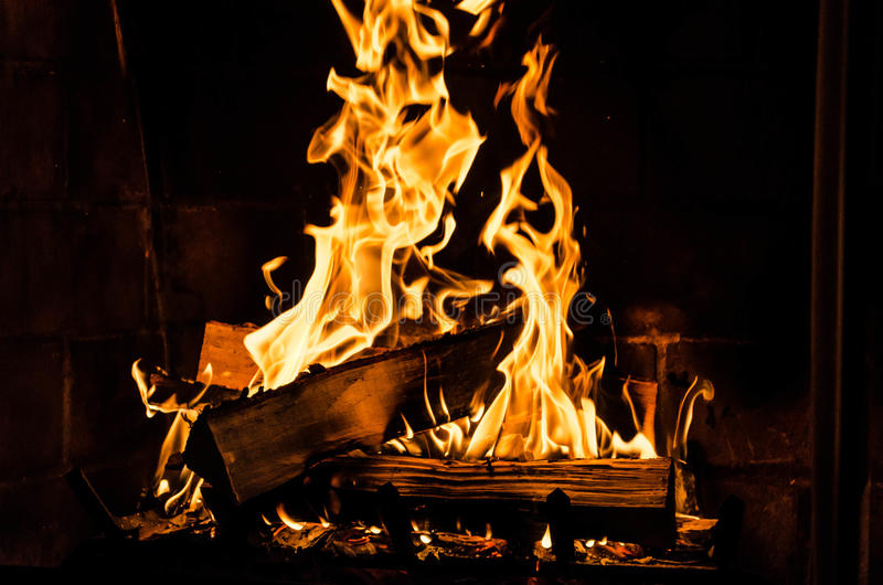 Fire in Fireplace royalty free stock photography