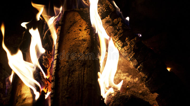 A fire in the fireplace stock image