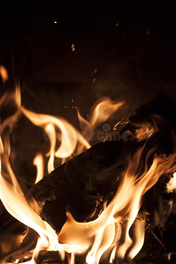 Fire in fireplace. A fire in the fire pit or fireplace in Sedona, Arizona, USA stock images