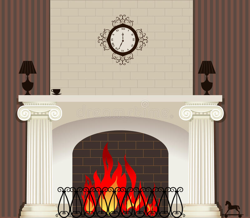 Fire in fireplace vector illustration