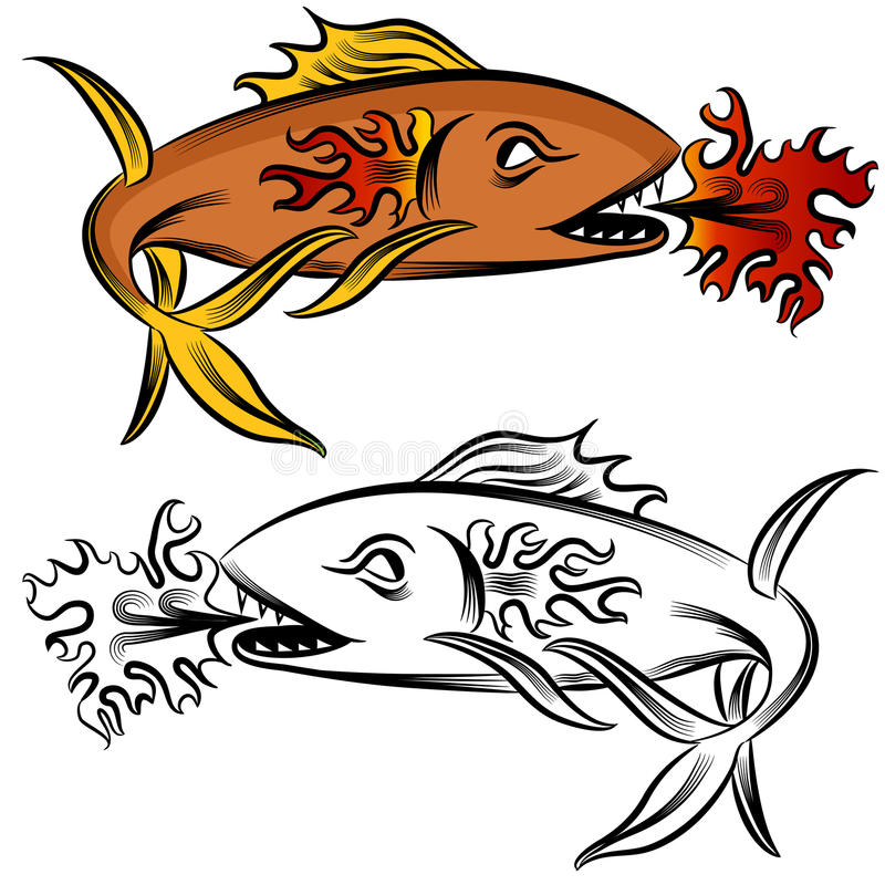 Download Fire Fish Drawing stock vector. Illustration of clipart - 27166467