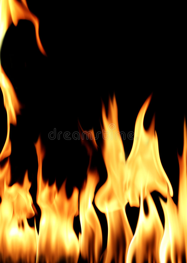 Fire flame. In black background stock photography