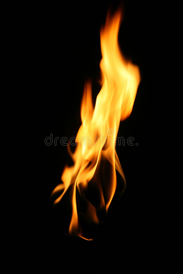 Fire, flame. Over black background royalty free stock images