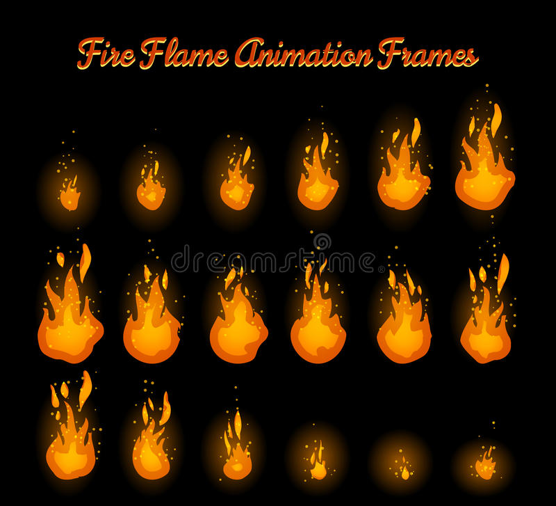 Fire flame animation for fire trap. Fire flame animation frames for fire trap vector illustration stock illustration