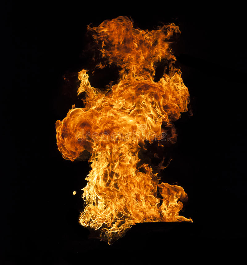 Fire flame on black background royalty free stock photo