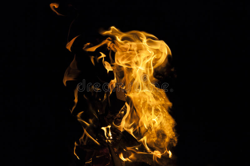Fire flame on black background royalty free stock photos