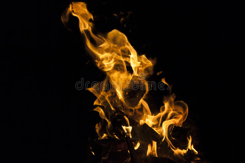 Fire flame on black background royalty free stock image