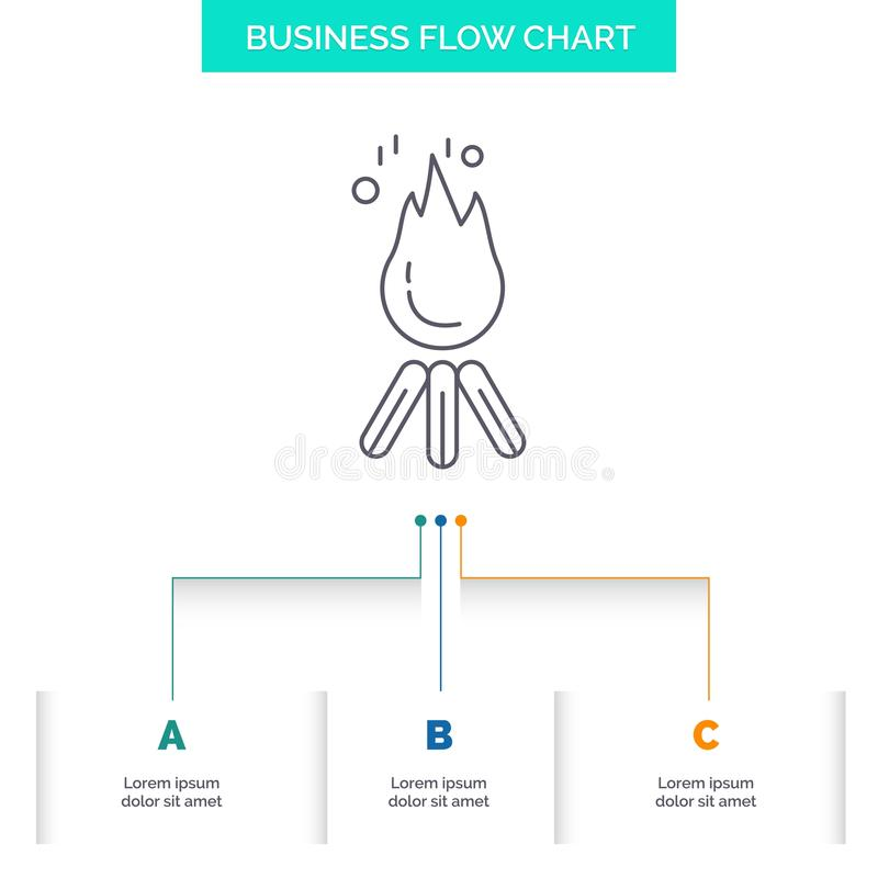 fire, flame, bonfire, camping, camp Business Flow Chart Design with 3 Steps. Line Icon For Presentation Background Template Place vector illustration