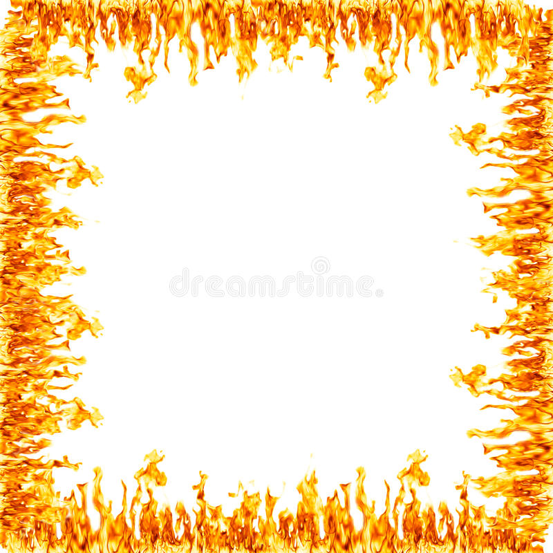 Fire flame border. Square shaped border containing fire flames. Center is blank vector illustration