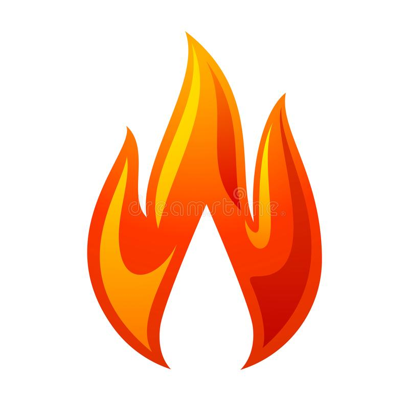 Fire flame 3d red icon stock illustration