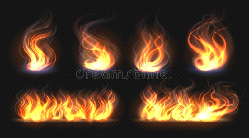 Fire flame effect. Realistic burning line on black background, transparent hot orange light effects. Vector candlelight stock illustration