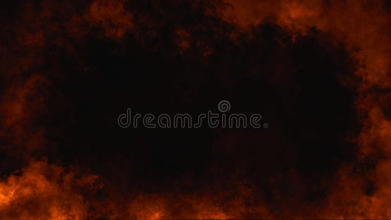 Fire flame frame isolated on black background. Smoke fire fog frame border on isolated background for text or space royalty free illustration
