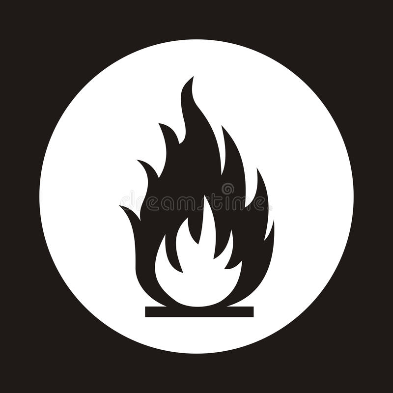 Fire flame icon. Black icon isolated on white background. Fire f royalty free illustration