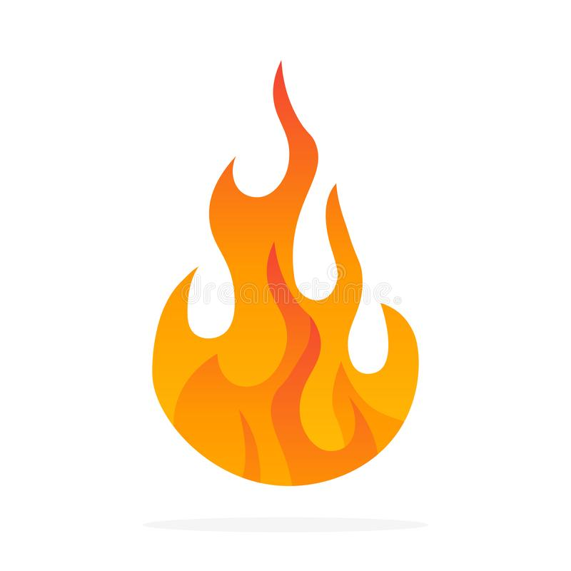 Fire flame icon. Black icon isolated on white background. Fire flame silhouette. Simple icon. vector illustration