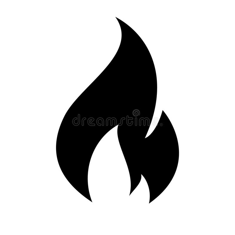 Fire flame icon. Black icon isolated on white background vector illustration