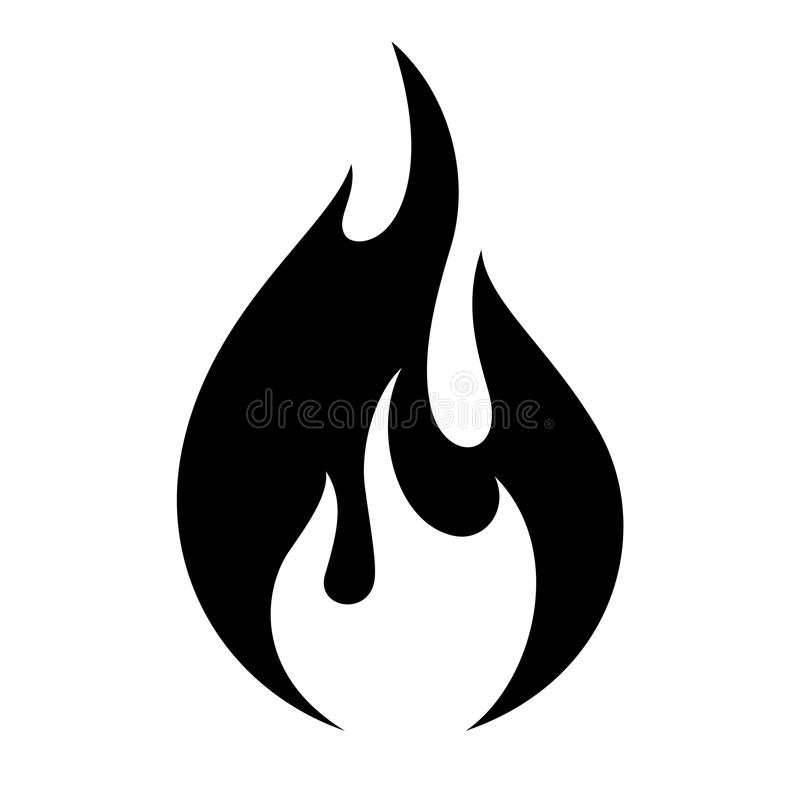 Fire flame icon. Black icon isolated on white background stock illustration