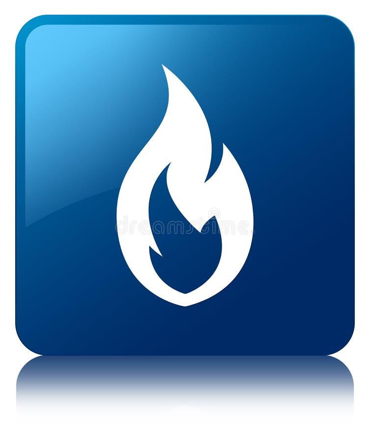 Fire flame icon blue square button stock illustration