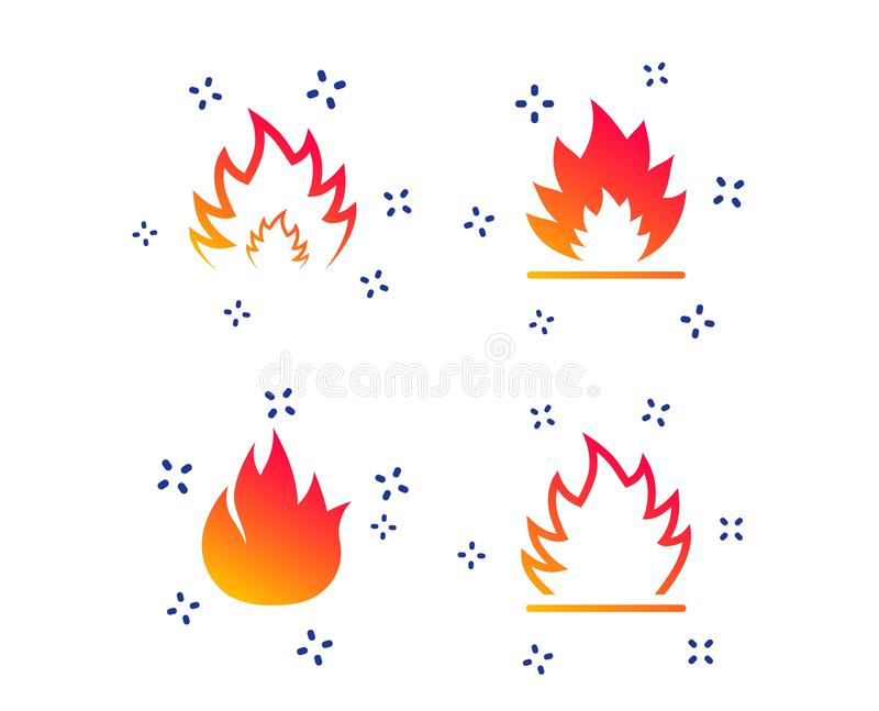 Fire Flame Icons  Heat Signs  Stock Vector - Illustration of design