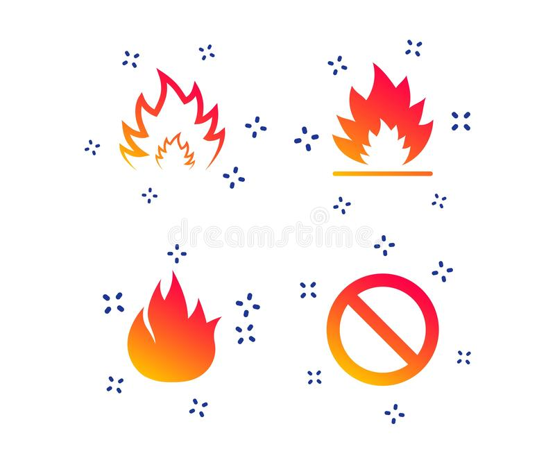 Fire flame icons. Prohibition stop symbol. Vector. Fire flame icons. Prohibition stop sign symbol. Random dynamic shapes. Gradient fire icon. Vector royalty free illustration